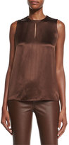 Ralph Lauren Black Label Addie Sleeveless Keyhole Blouse, Chestnut Brown