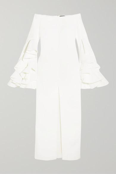 Ellery Ruffled Crepe Gown - White
