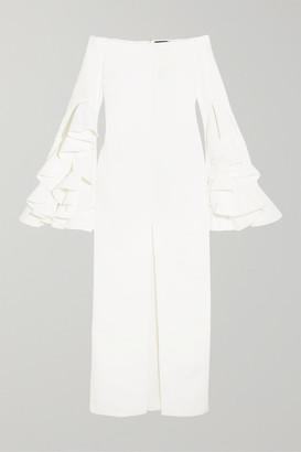 Ellery Ruffled Crepe Gown - White