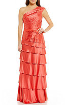 Kay Unger One Shoulder Stretch Satin Ruffle Gown