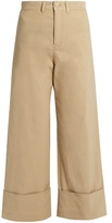 Sea Mid-rise wide-leg cropped trousers