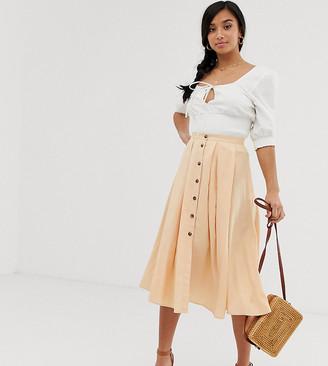 Asos DESIGN Petite button front floaty midi skirt with pleats-Orange