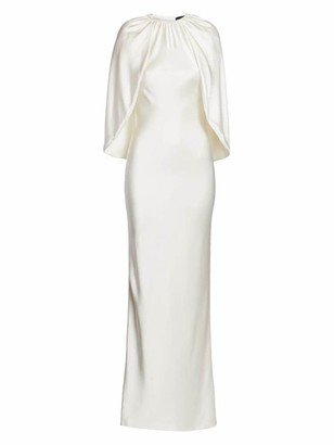 Brandon Maxwell Silk Bias-Cut Cape Gown