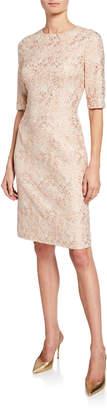 Rickie Freeman For Teri Jon Short-Sleeve Metallic Jacquard Sheath Dress