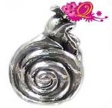 Quiges - Silver Plated Snail Charm Bead for Pandora style Bracelets