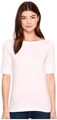 Lauren Ralph Lauren Stretch Cotton Boat Neck Tee (Polo Black) Women's T Shirt