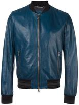 Dolce & Gabbana leather bomber jacket - men - Cotton/Lamb Skin/Polyamide/Viscose - 48