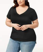Abasix Trendy Plus Size Zipper-Trim T-Shirt