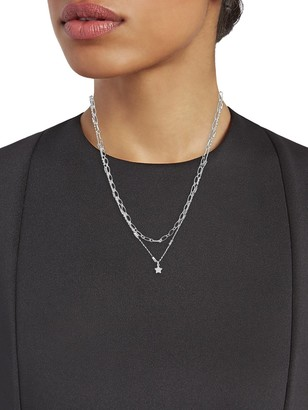 Sterling Forever Rhodium-Plated Linked Star Charm Layered Necklace