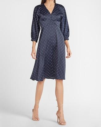 Express Ladygang Polka Dot Satin Button Front Midi Dress