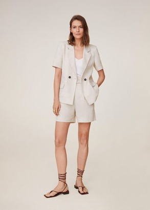 MANGO Double-breasted linen suit blazer beige - XS - Women