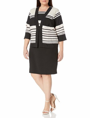 Danny And Nicole Danny & Nicole Women's Plus Size Two Piece 3/4 Sleeve Jacket and Crepe Dress