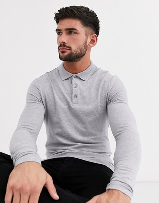 Asos Design DESIGN muscle fit long sleeve jersey polo in grey marl