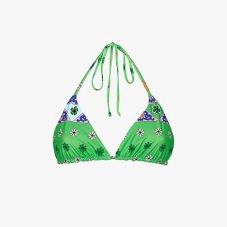 Frankie's Bikinis X Browns Tia Scarf Print Triangle Bikini Top - Women's - Nylon/Spandex/Elastane