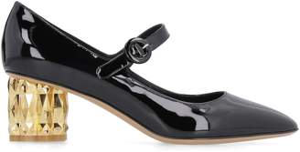 Salvatore Ferragamo Sculptural Heel Patent Mary Jane Pumps
