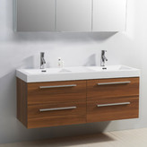 "Virtu Rever Lofts 53.9"" Double Bathroom Vanity Set with White Top Base"