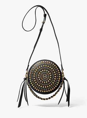 Michael Kors Delancey Medium Studded Leather Canteen Crossbody Bag