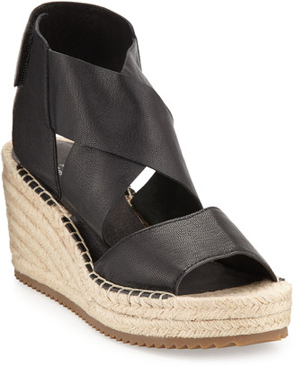 Eileen Fisher Willow Leather Espadrille Sandal, Black