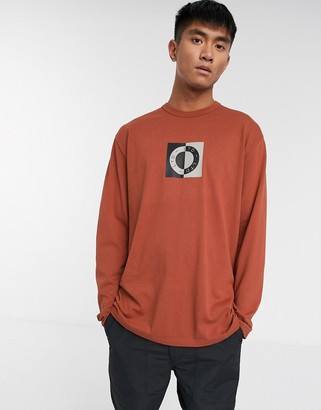 Topman long sleeve t-shirt with circle print in rust