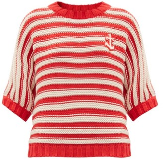 Gucci Anchor-applique Striped Cotton-blend Sweater - Red White