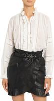 Etoile Isabel Marant Valda Lace-Inset Frilled Cotton Shirt