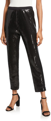 Joan Vass Petite Sequin Ankle Pants
