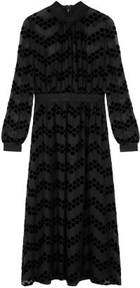Tory Burch Black polka dot-devore midi dress