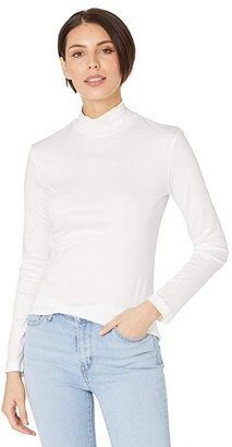 Lacoste Long Sleeve Solid Color Turtleneck Tee (White) Women's Clothing