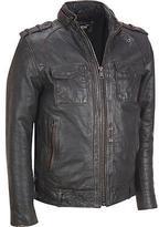 Black Rivet Mens Big & Tall Distressed Leather Jacket W/ Rub-Off Seams