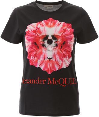 Alexander McQueen SKULL FLOWER T-SHIRT 38 Black, Pink, Fuchsia Cotton