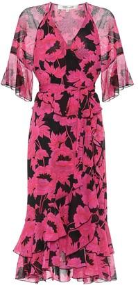 Diane von Furstenberg Zion floral mesh midi wrap dress