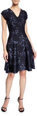 Zac Posen Floral Jacquard Knit V-Neck Dress