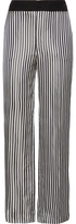 Lanvin Striped Satin-jacquard Wide-leg Pants - Midnight blue