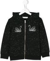 Stella McCartney Joplin swan embroidered hoodie - kids - Cotton/Polyester/Viscose - 8 yrs