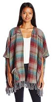 Billabong Juniors Forever Fall Plaid Flannel Poncho Sweater