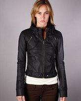 Monarchy Denim Moto Jacket in Black