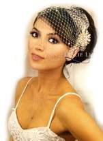 Leslie Li Women's Blush Rose Gold Brooch & Bridal Birdcage Veil 27-358