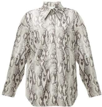 MSGM Snake Print Jersey Shirt - Womens - Beige Multi