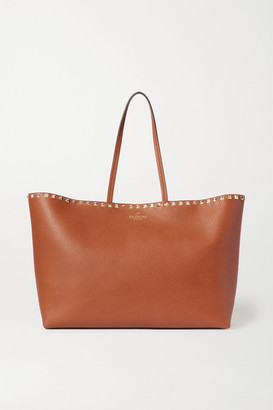 Valentino Garavani Rockstud Textured-leather Tote - Brown