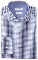 Isaac Mizrahi Blue & Navy Check Fitted Dress Shirt