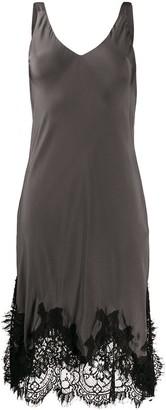 Gold Hawk Lace-Trimmed Midi Dress