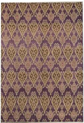 Sultanabad Ikat Hand-Knotted Wool Purple Area Rug Bokara Rug Co., Inc.