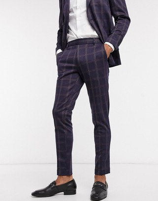ONLY & SONS suit trouser with elasticated waist in navy check