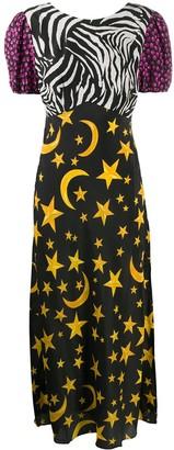 Rixo Mixed-Print V-Back Dress