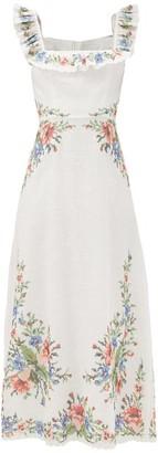 Zimmermann Juliette Ruffled Cross-stitched Linen Midi Dress - White Multi