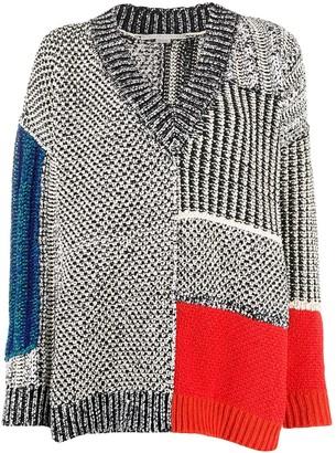 Stella McCartney mixed texture V-neck jumper