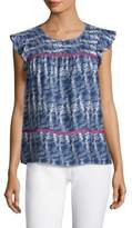 Vineyard Vines Fishbone-Print Ruffle-Sleeve Top