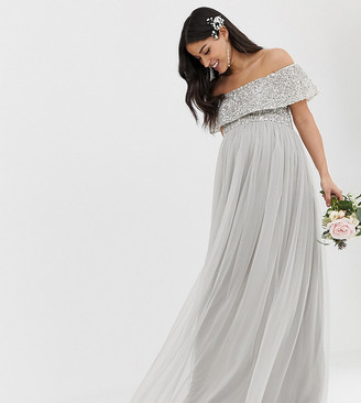 Maya Maternity Bridesmaid bardot maxi tulle dress with tonal delicate sequins in silver
