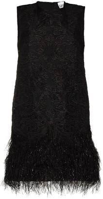 Ganni Floral Embroidered Feather Detail Dress