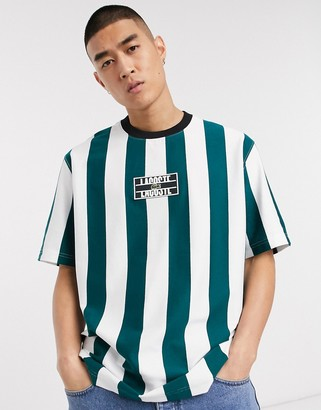 Lacoste L!VE box logo stripe t-shirt in green